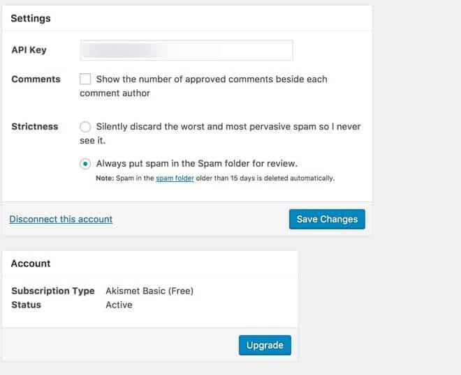 add your Akismet API key