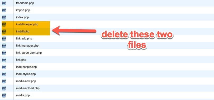 delete install php file