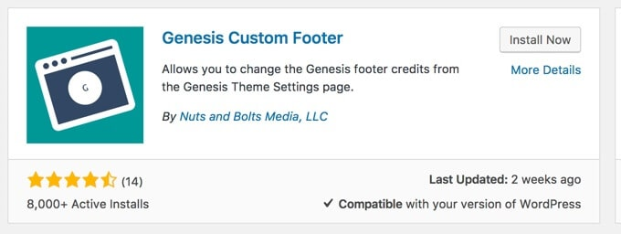 Genesis custom footer plugin