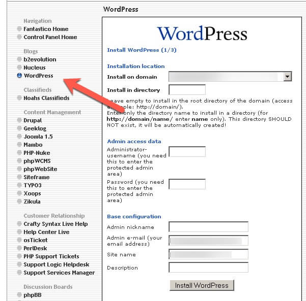 How to install WordPress Fantastico