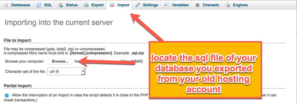 import sql file to new hosting account