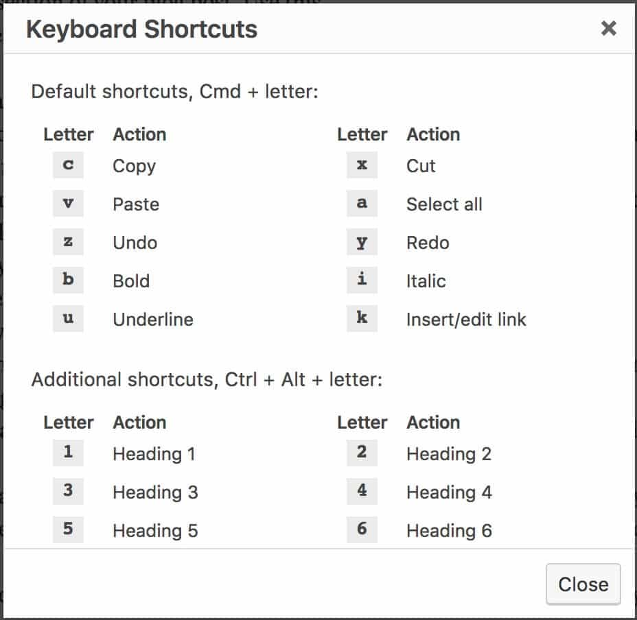 keyboard short cuts