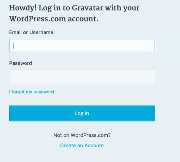 login to Gravatar