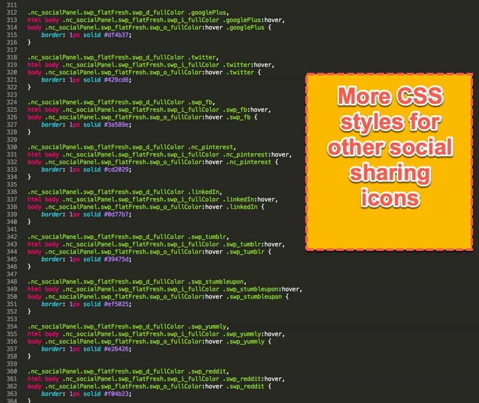 more social sharing css styles