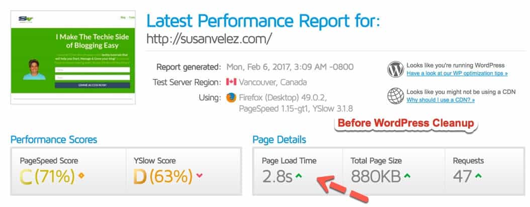 site speed before optimization