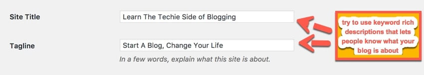 site title tag line setings