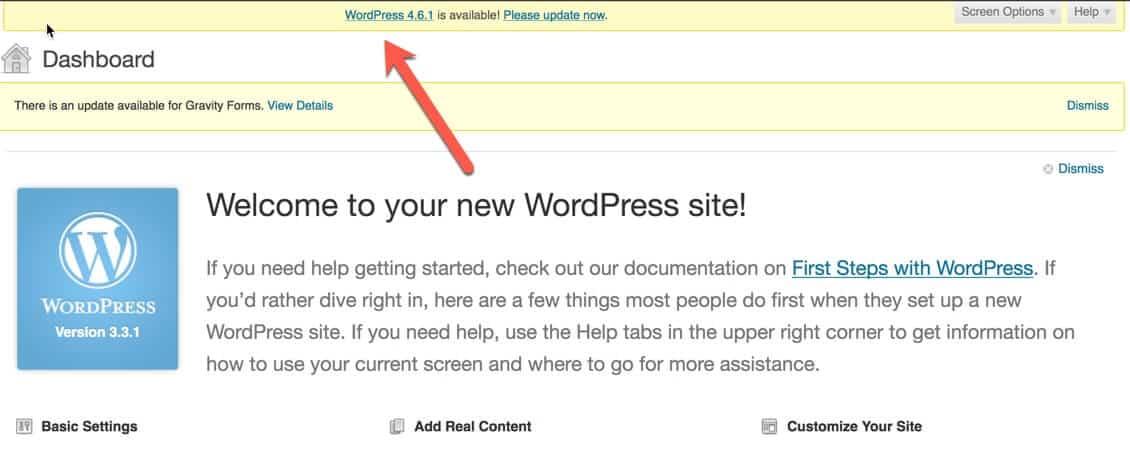 WordPress Core needs update