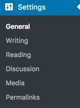 WordPress settings tab