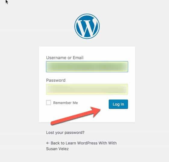 wp admin login page
