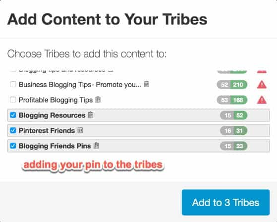 adding your pins to the tribes