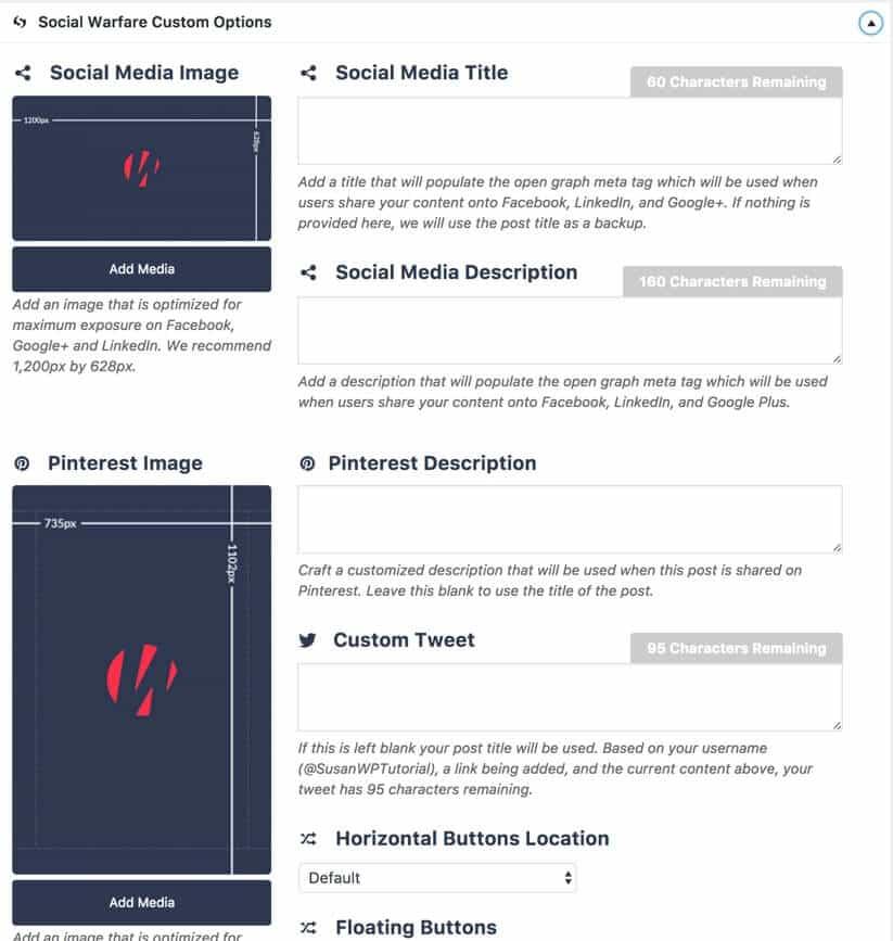 Social Warfare blog page options