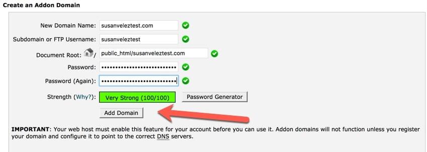 create add on domain