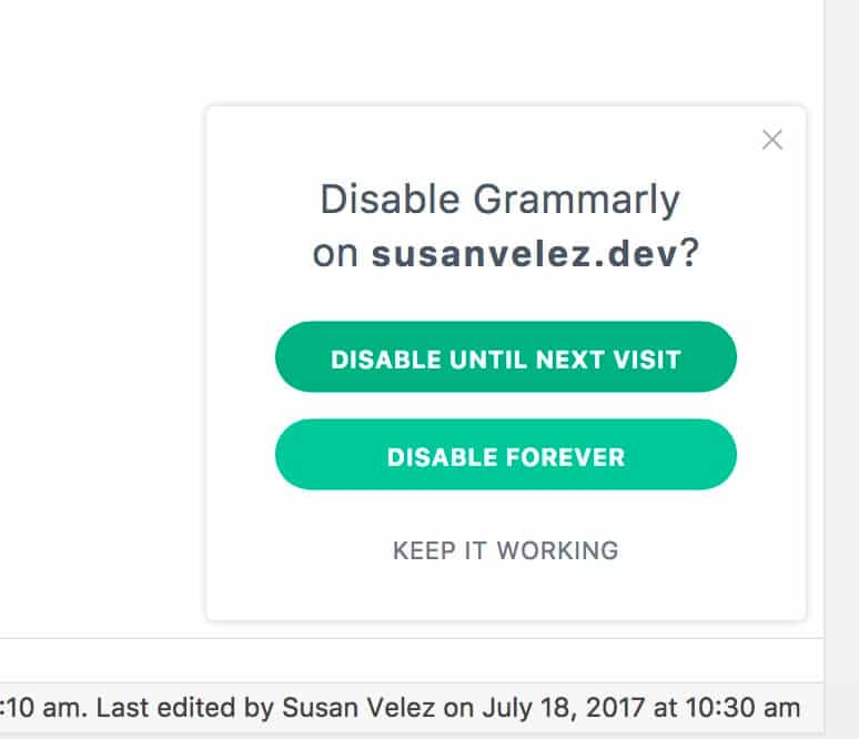 disable Grammarly options
