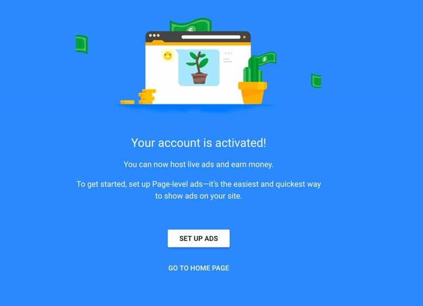 Google Adsense activated