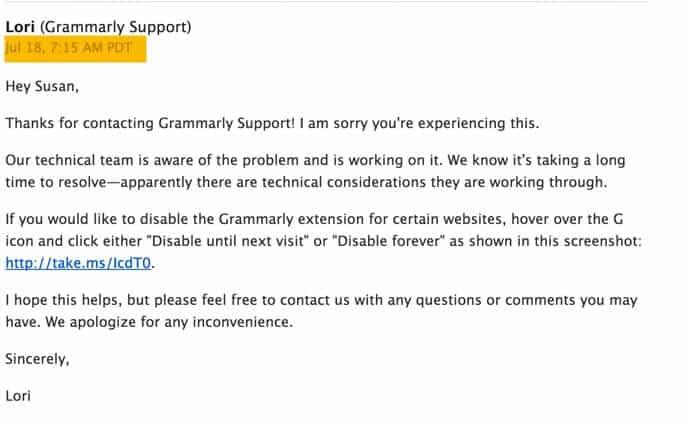 Grammarly Response