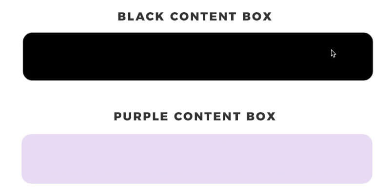 black and purple content boxes