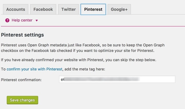 verify Pinterest Yoast SEO
