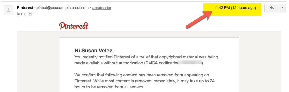 Pinterest DMCA notification email