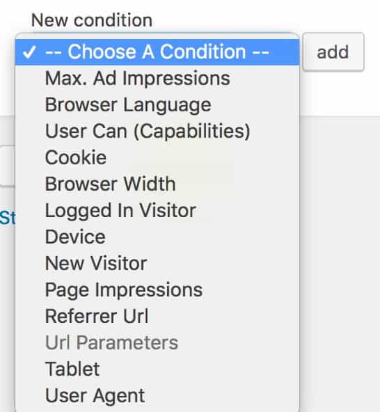 advanced ads visitor conditions