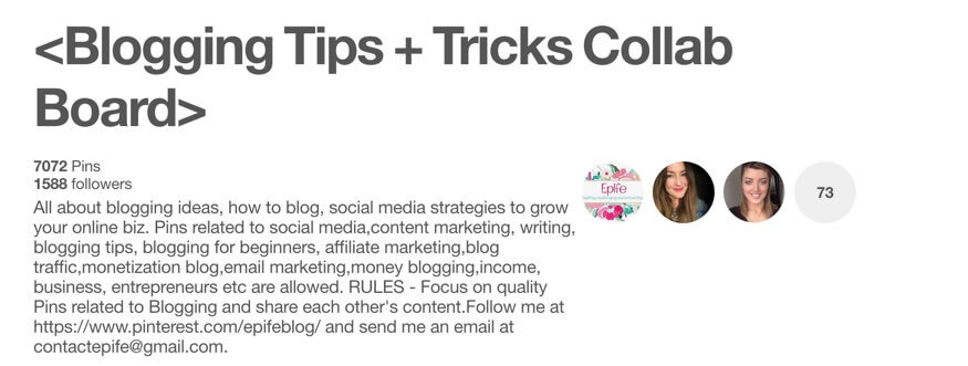 Blogging Tips plus Tricks Pinterest Group Board