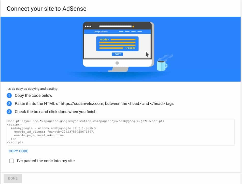 connect adsense to my site
