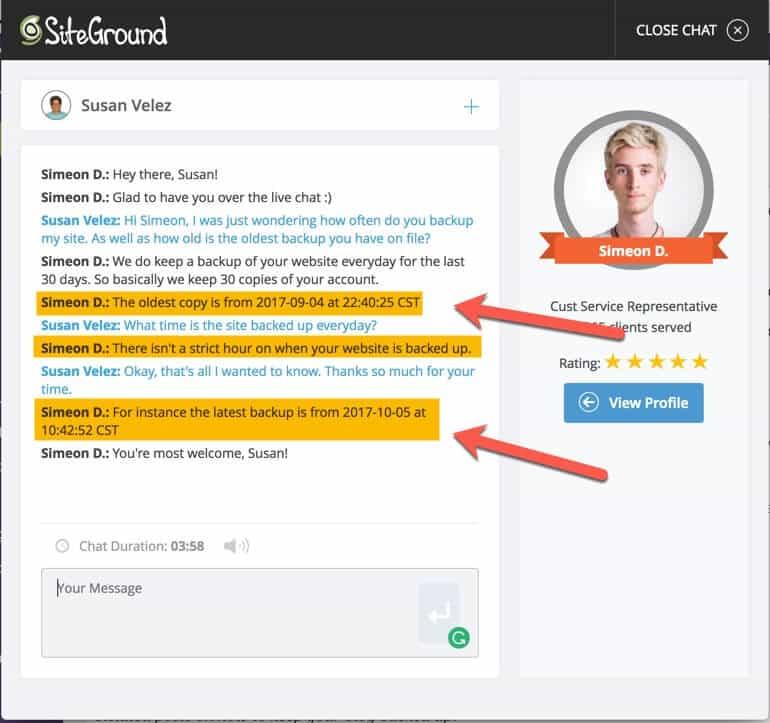 SiteGround backup inquiry