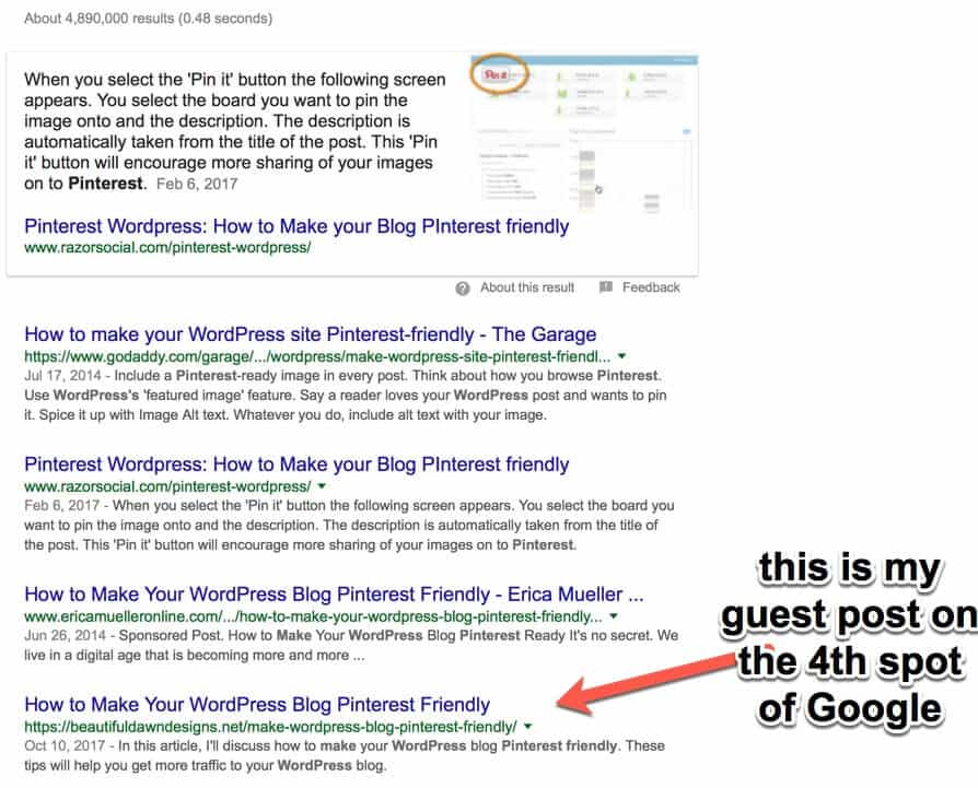 my guest post on fourth spot on Google