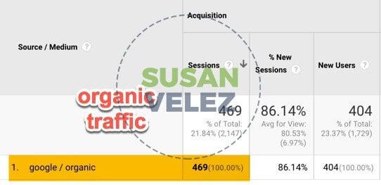 organic traffic for December