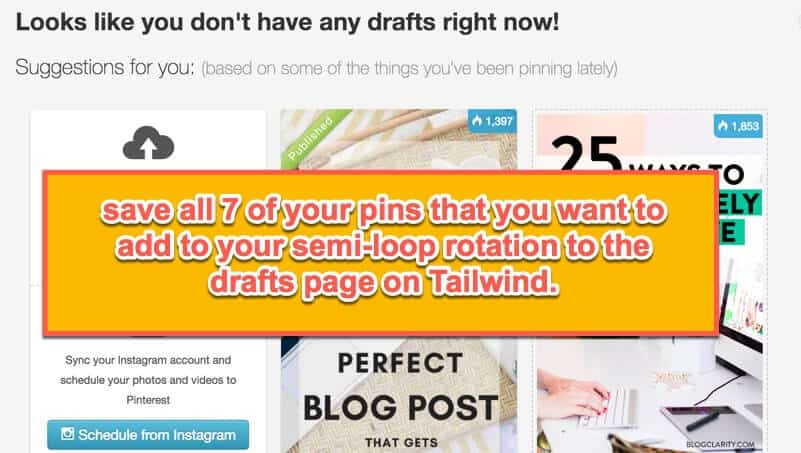 save pins to Tailwind draft mode