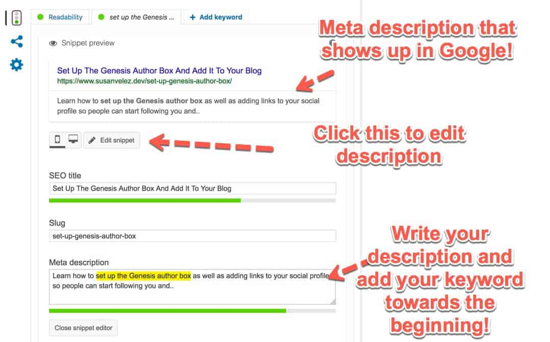 Yoast SEO meta description