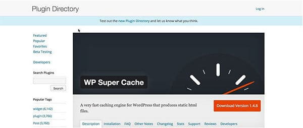 WP Super Cache blogging tools