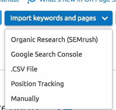 import keywords and pages semrush