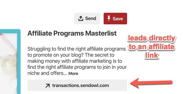 affiliate link on Pinterest