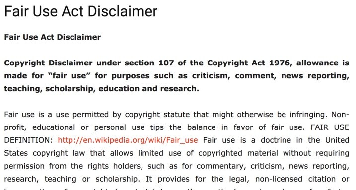 Fair Use Disclaimer