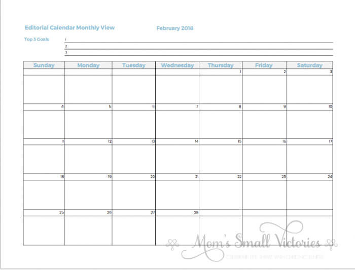 monthly editorial calendar 2018 blog planner