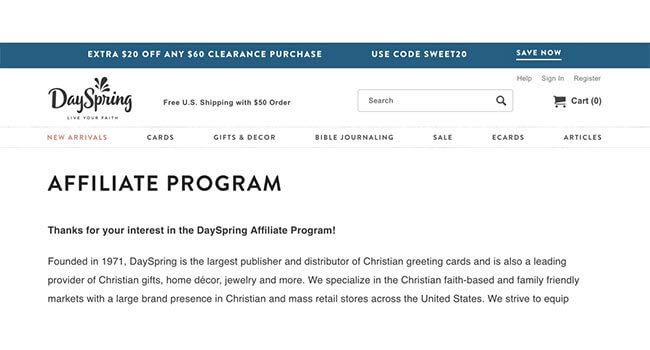 Dayspring affiliate program
