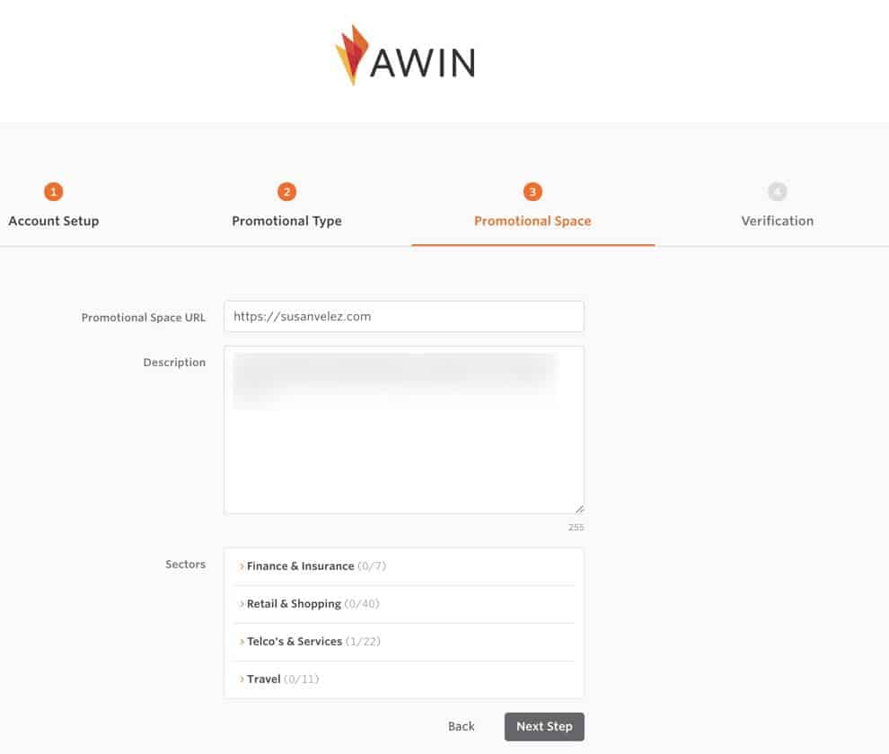 affiliate window sign up step 3
