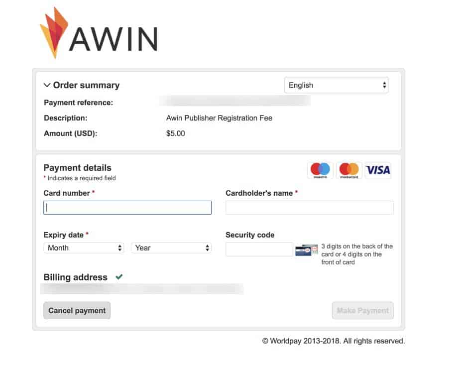 affiliate window sign up step 5