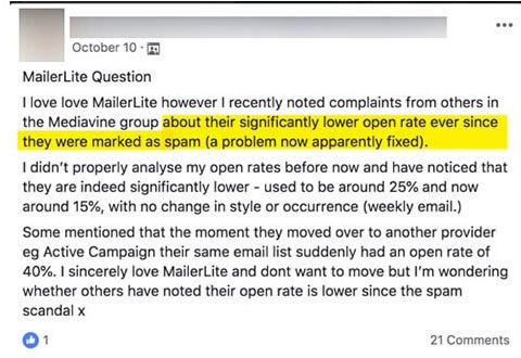 mailerlite open rates