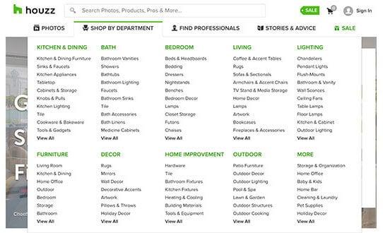 houzz affiliate program categories