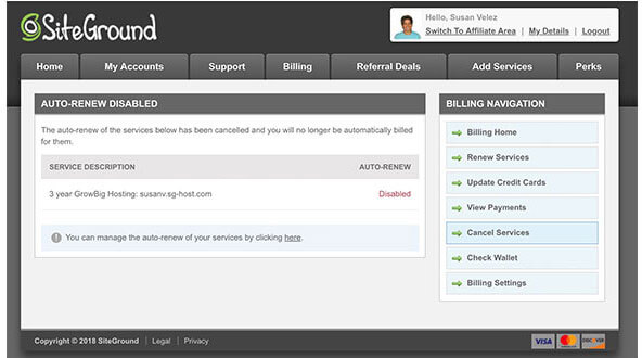 Siteground auto-renewal disabled