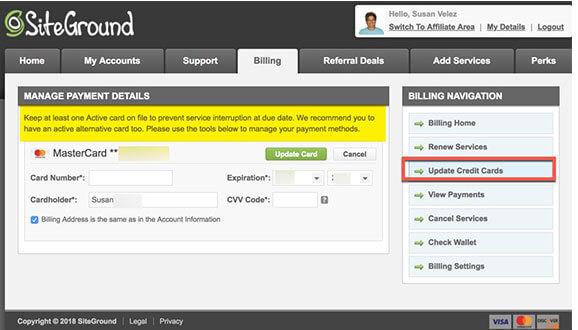 SiteGround update credit cards